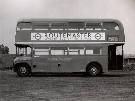 Related object: B/W print; Nearside view of a RM-type bus (RM1) by Dr Heinz Zinram, 22 Jun 1956