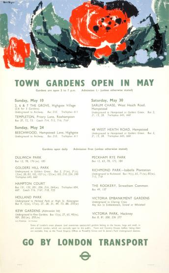 Poster; Town gardens open in May, by Hans Unger, 1959