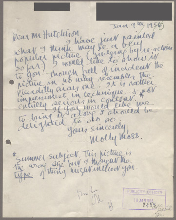 Related object: Letter; from Molly Moss to Harold Hutchison about possible work, 9 January 1956