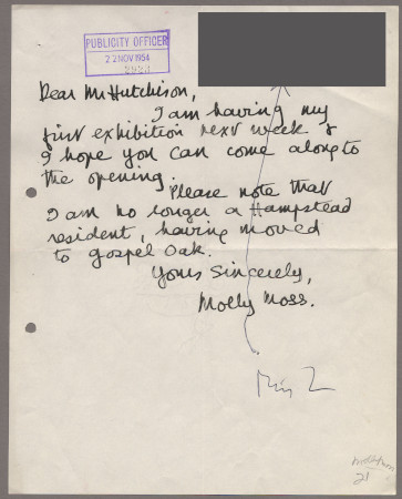 Related object: Letter; from Molly Moss to Harold Hutchison about an exhibition of her work, 22 November 1954