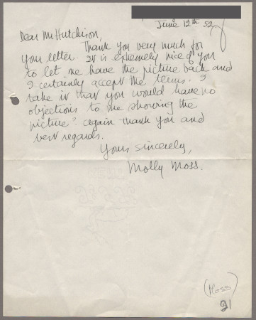 Related object: Letter; from Molly Moss to Harold Hutchison about her poster design, 12 June 1952