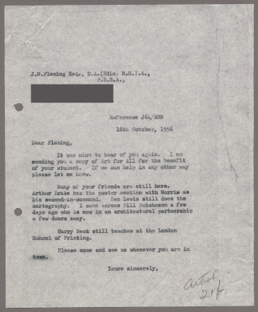 Related object: Letter; from Bryce Beaumont to John Fleming, 16 Oct 1956