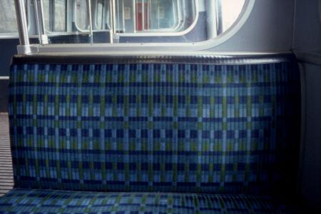 Colour transparency; c 69 surface stock interior showing the blue/ green moquette seating fabric designed by marianne straub, circa 1980