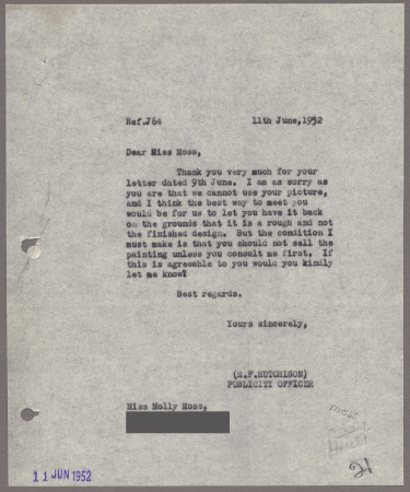 Related object: Letter; from Harold Hutchison to Molly Moss about her unused poster design, 11 June 1952