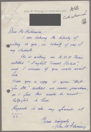 Related object: Letter; from John Fleming to Harold Hutchison, 10 Oct 1956