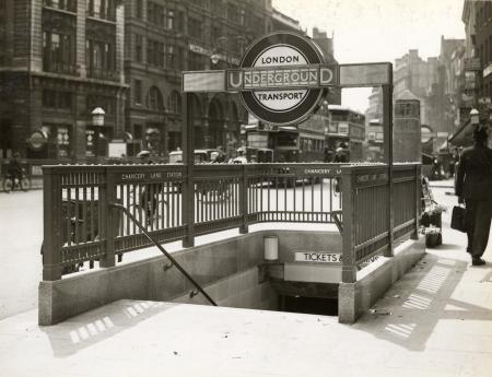 BW print; New stairwell entrance to Chancery Lane station, situated on the south side of Holborn by Topical Press, 29 Jun 1934