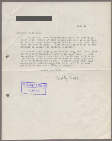 Related object: Letter; from Molly Moss to Harold Hutchison about her poster design, 9 June 1952