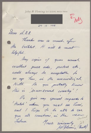 Related object: Letter; from John Fleming to Bryce Beaumont, 29 Oct 1956