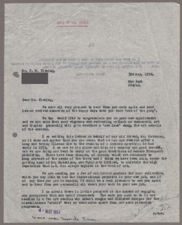 Related object: Letter; from Bryce Beaumont to John Fleming, 3 May 1954