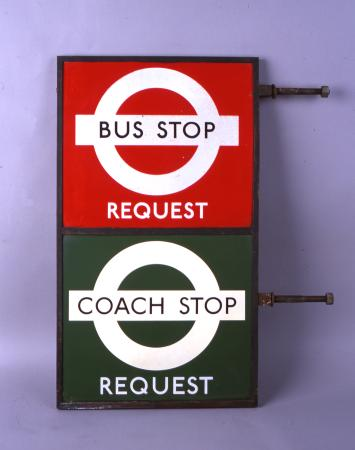 Related object: Bus stop flag; Hans Schleger style bus stop flag with bronze frame for a combined bus & coach request stop, circa 1950