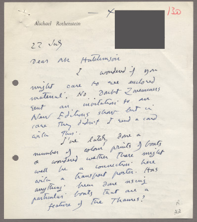 Related object: Letter; from Michael Rothenstein to Harold Hutchison, 22 July 1959