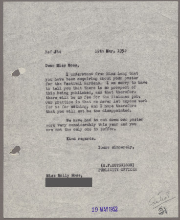 Related object: Letter; from Harold Hutchison to Molly Moss about her poster design, 19 May 1952