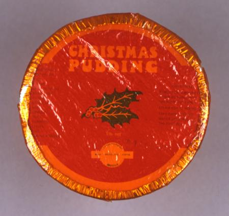 Food wrapper; london transport 1lb christmas pudding, london transport catering, 1975