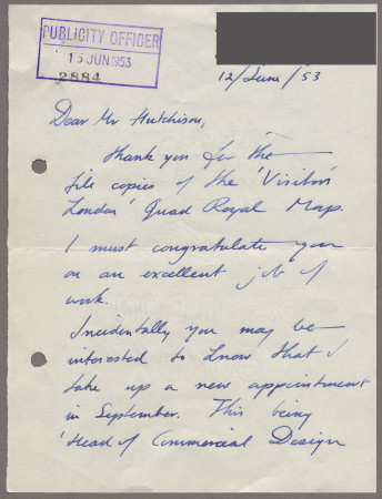 Related object: Letter; from John Fleming to Harold Hutchison, 12 Jun 1953