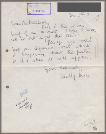 Related object: Letter; from Molly Moss to Harold Hutchison about her poster
