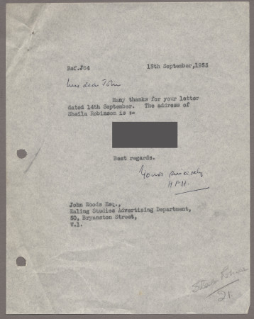 Related object: Letter; from Harold Hutchison to John Woods, Ealing Studios about Sheila Robinson, 15 September 1953