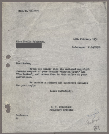 Related object: Letter; from Harold Hutchison to Sheila Robinson requesting her to sign the copyright form, 12 February 1951