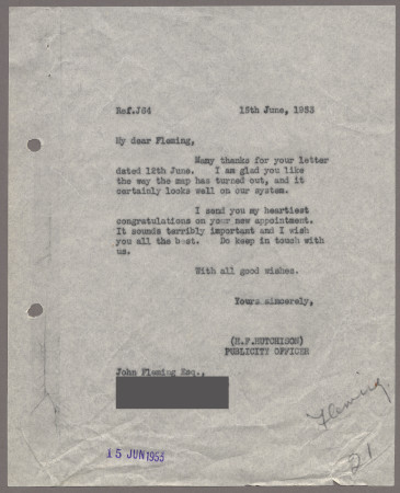 Related object: Letter; from Harold Hutchison to John Fleming, 15 Jun 1953