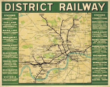 Poster map; District Railway, unknown, 1908