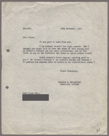 Related object: Letter; from Harold Hutchison to John Piper about the theme of the year for poster design, 28 November 1949