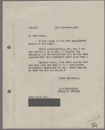Related object: Letter; from Harold Hutchison to John Piper asking if he had time to do a pair-poster design on