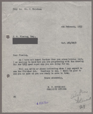Related object: Letter; from Harold Hutchison to John Fleming, 4 Feb 1953