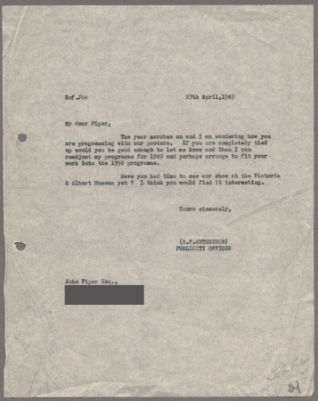 Related object: Letter; from Harold Hutchison to John Piper about his poster design, 27 April 1949