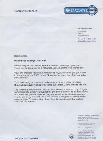 Letter; Introductory Letter Sent To Members Of The Cycle Hire Scheme, .