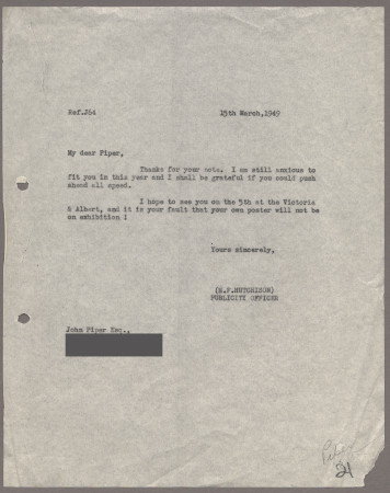 Related object: Letter; from Harold Hutchison to John Piper about his poster design, 15 March 1949