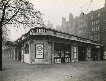 B/w print; temple underground station, district railways (now district and circle line), november 1936