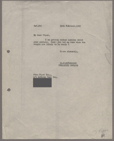Related object: Letter; from Harold Hutchison to John Piper about his poster design, 16 February 1949