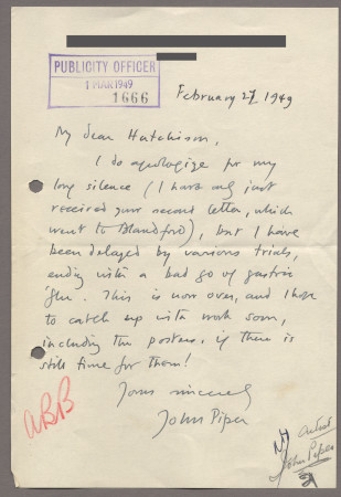 Related object: Letter; from John Piper to Harold Hutchison about his poster design, 27 Feburary 1949