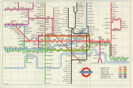 Related object: Map; Pocket diagram of lines and station index, by Henry Beck, 1959