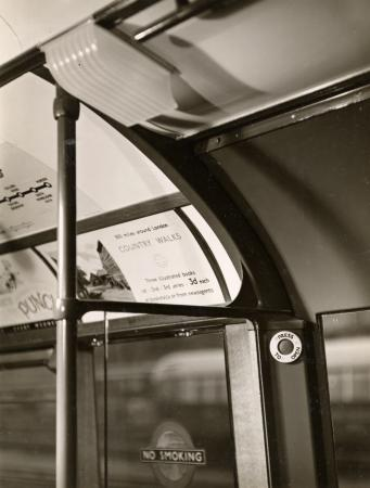 B/w print; interior of 1938-tube stock car by dell & wainwright, aug - sep 1938
