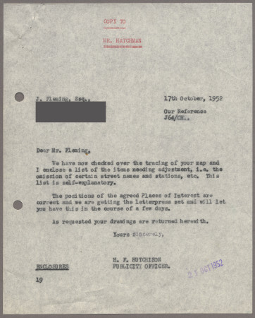 Related object: Letter; from Harold Hutchison to John Fleming, 17 Oct 1952