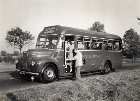 Related object: B/W print; GS-type 26-seater one-man-operated (OMO) single deck Country Bus by John Somerset Murray, 9 Oct 1953