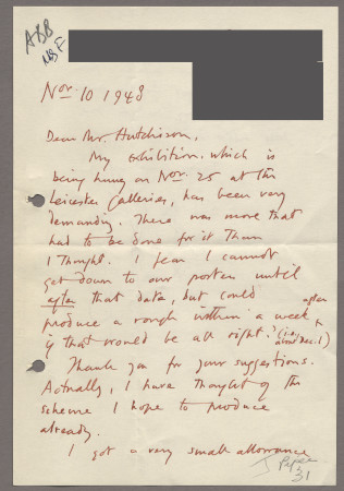 Related object: Letter; from John Piper to Harold Hutchison about his poster design, 10 November 1948
