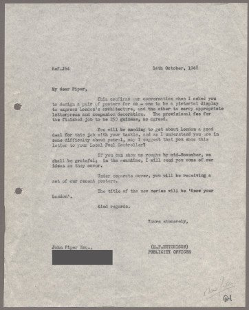Related object: Letter; from Harold Hutchison to John Piper about his poster design, 14 October 1948