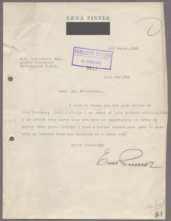 Related object: Letter; from Erna Pinner to Harold Hutchison about her animal poster design, 6 March 1952