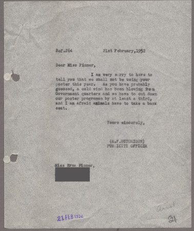 Related object: Letter; from Harold Hutchison to Erna Pinner about her poster design, 21 February 1952