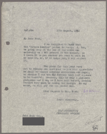 Related object: Letter; from Harold Hutchison to John Nash about his poster design for Autumn Berries, 18 August 1952