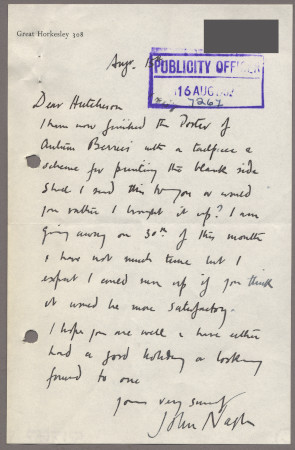 Related object: Letter; from John Nash to Harold Hutchison about his poster design for Autumn Berries, 15 August 1952
