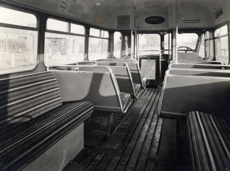 Related object: B/W print; Interior view of GS-type single deck one-man-operated (OMO) Country Bus looking towards the front by John Somerset Murray, 9 Oct 1953