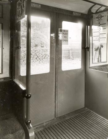 B/w print; interior of a hammersmith & city line q35-stock car by topical press, 13 jul 1936
