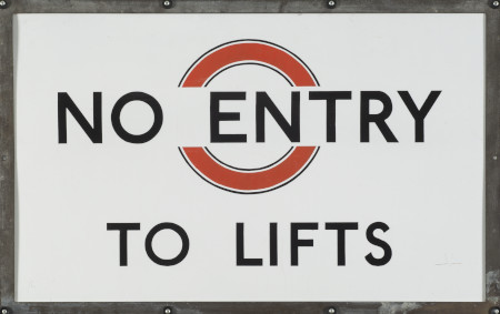 Direction sign; No entry to lifts enamel sign from an unknown station, circa 1930