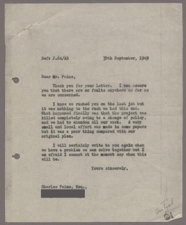 Related object: Letter; from Harold Hutchison to Charles Paine about work, 30 September 1949