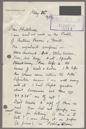 Related object: Letter; from John Nash to Harold Hutchison about his poster design for Autumn Berries, 12 May 1952