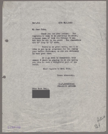 Related object: Letter; from Harold Hutchison to John Nash about his poster and a visit, 15 May 1952