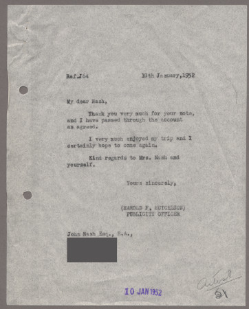 Related object: Letter; from Harold Hutchison to John Nash about his visit, 10 January 1952