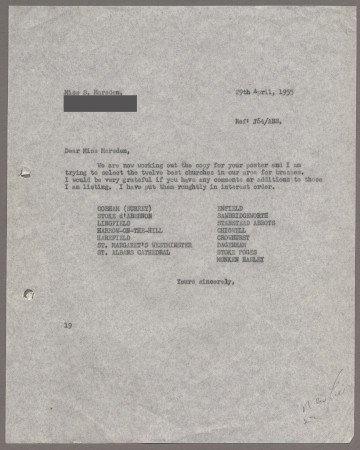 Related object: Letter; from Harold Hutchison to Stella Marsden about her poster design, 29 April 1955